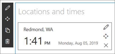 SharePoint vietņu tīmekļa daļa ar pasaules pulksteni, ar kopu atrašanās vietu un datuma/laika formātu