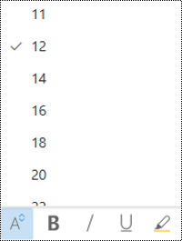 Izvēlne fonta lielums, kas atvērta programmā Outlook tīmeklī.