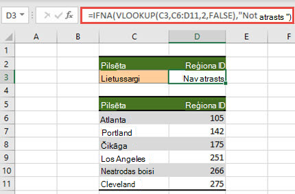Funkcijas IFNA un VLOOKUP izmantošanas attēls, #N novērstu kļūdas #N/A.