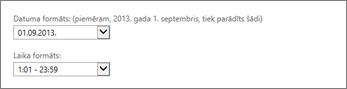 Outlook Web App datuma un laika formāta iestatījumi