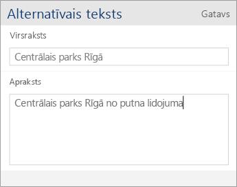 Ekrānuzņēmums ar Word Mobile alternatīvā teksta dialoglodziņu, kurā ietilpst lauki Nosaukums un Apraksts.