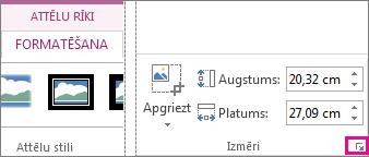 Dialoglodziņa ikona kontekstcilnes Attēlu rīki cilnes Formatēšana grupā Izmēri