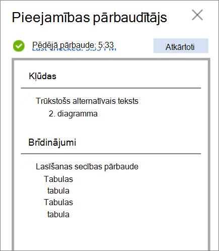 Pieejamības produkti pārbaude programmā Word tīmeklī