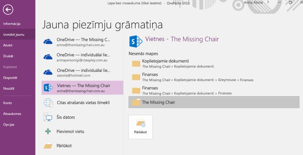 OneNote darbam ar Windows 2016 jaunas piezīmju grāmatiņas mapes atlases interfeiss