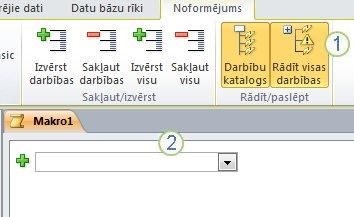 Access 2010 makro noformēšanas cilne