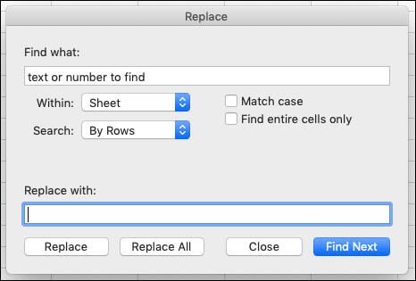 Teksta vai skaitļu aizstāšana darbgrāmatā vai darblapā, nospiežot taustiņu kombināciju Ctrl+H