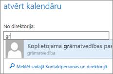 Outlook Web App dialoglodziņš Kalendāra atvēršana