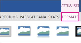 Attēls ar attēla formatēšanas opciju attēlu rīku lentē