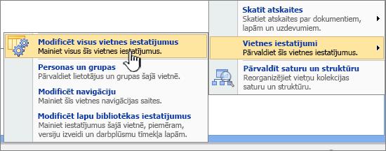 Opcija modificēt visus vietnes iestatījumus sadaļā vietnes iestatījumi