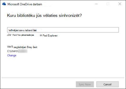 OneDrive darbam - sinhronizētas bibliotēkas atlasīšana