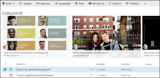 Office 365 dokumentu un mapju izvēlne