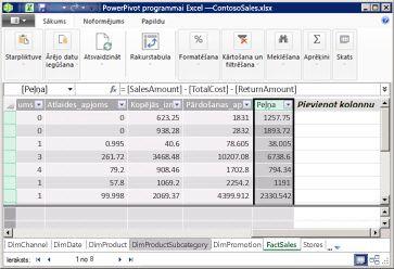 Aprēķināta kolonna pievienojumprogrammā PowerPivot