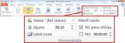 Cilnes Pārejas grupa Hronometrāža programmas PowerPoint2010 lentē