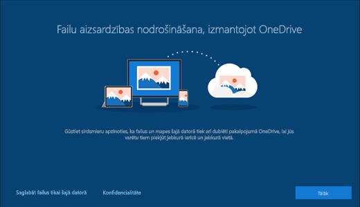 Failu aizsardzības, izmantojot pakalpojumu OneDrive, Windows 10 iestatīšanā ekrānuzņēmums
