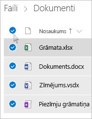 Ekrānuzņēmums ar visu failu un mapju atlasīšanu pakalpojumā OneDrive