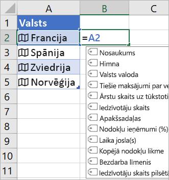 """Šūnā A2 ir """"Francija""""; Šūnā B2 ir = a2. tiek parādīta izvēlne formulas automātiskā pabeigšana ar laukiem no saistītā ieraksta"""