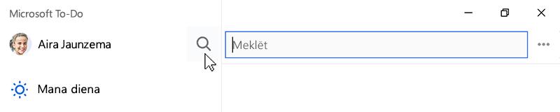 Ekrānuzņēmums, kurā redzama atlasīta ikonas meklēt un meklēšanas laukā atvērt