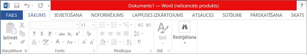 Rāda Nelicencēts produkts sarkanajā virsraksta joslā, atspējotajā interfeisā un ziņojumu reklāmkarogā