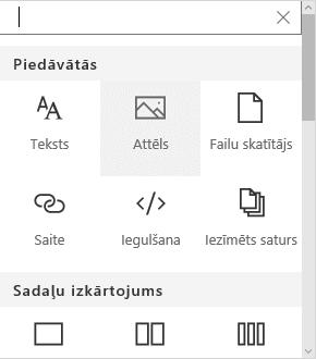 Ekrānuzņēmums ar attēla tīmekļa daļas atlasi pakalpojumā SharePoint.