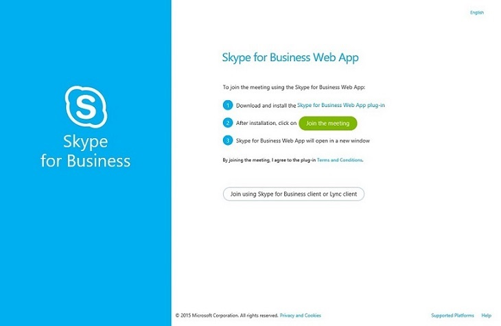 A workaround image when you cannot join a meeting through a Skype for Business meeting url