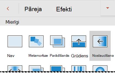 Pārejas efekta opcijas programmā PowerPoint darbam ar Android tālruņiem.