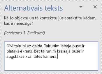 Alternatīvais Teksta rūts ar alternatīvā teksta piemēru programmā Word darbam ar Windows.