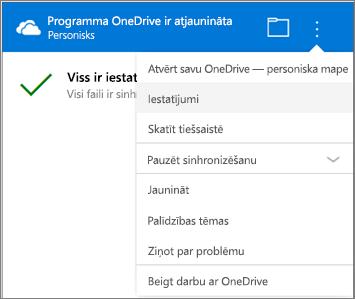 OneDrive sinhronizēšanas darbību centra iestatījumi sadaļā Vēl