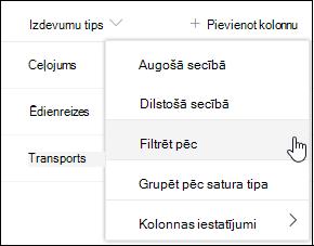 SharePoint kolonnas virsraksta filtrēšana pēc izvēlnes opcijas