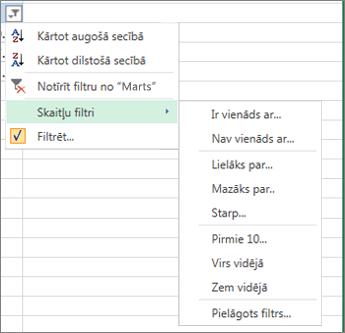 skaitliskajam vērtībām pieejamās pielāgotās filtrēšanas opcijas.