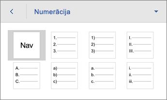 Komanda Numerācija, redzamas formatēšanas opcijas
