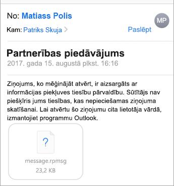 Programmā iOS Mail nevar redzēt aizsargātos ziņojumus, ja administrators to nav atļāvis.