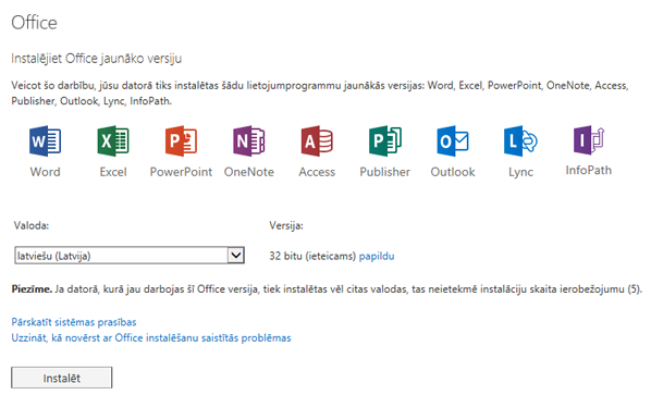 Office lapas jaunākās versijas instalēšana