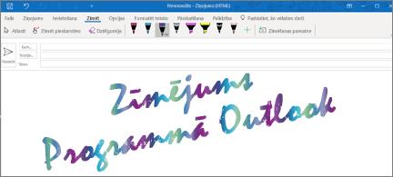 E-pasta ziņojums, kurā ar mirdzošu tinti ir rakstīts Zīmēšana programmā Outlook