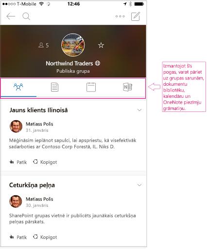 Sarunas skatā grupas Outlook grupas mobilajā lietojumprogrammā