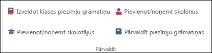 Ekrānuzņēmums, kurā OneNote darbgrāmatas pārvaldības opcijas