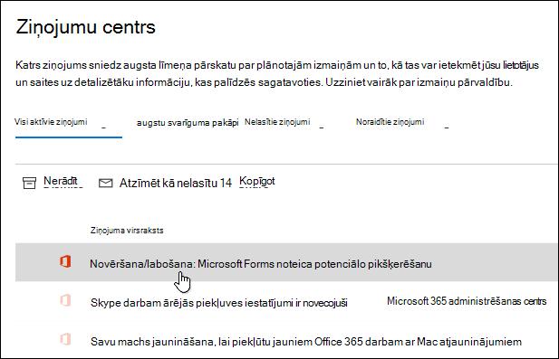 Ziņojums Microsoft 365 administrēšanas centrā par Microsoft Forms pikšķerēšanas noteikšanu