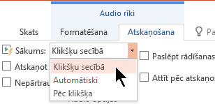 Pastāv trīs sākšanas opcijas cilnē Audio atskaņošana programmā PowerPoint 2016