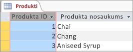 Produktu tabulas ekrāna fragments