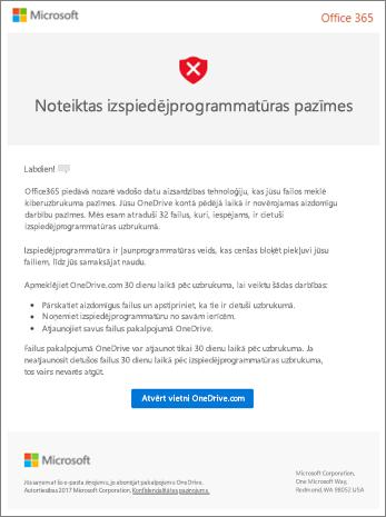 Ekrānuzņēmums ar ļaunprogrammatūras atklāšanas e-pasta ziņojumu no Microsoft