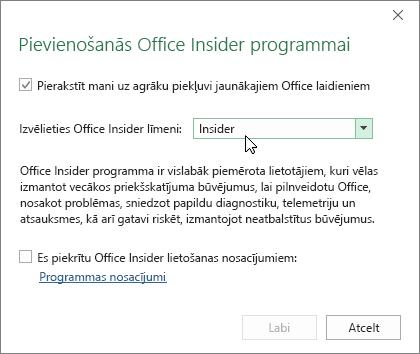 Pievienošanās Office Insider programmai dialoglodziņš ar līmeņa opciju Insider