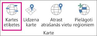 3D karšu opcija Kartes etiķetes