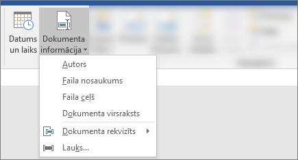 Ekrānuzņēmums, kurā redzams dokumenta informācija un datuma / laika pogas Word lentē