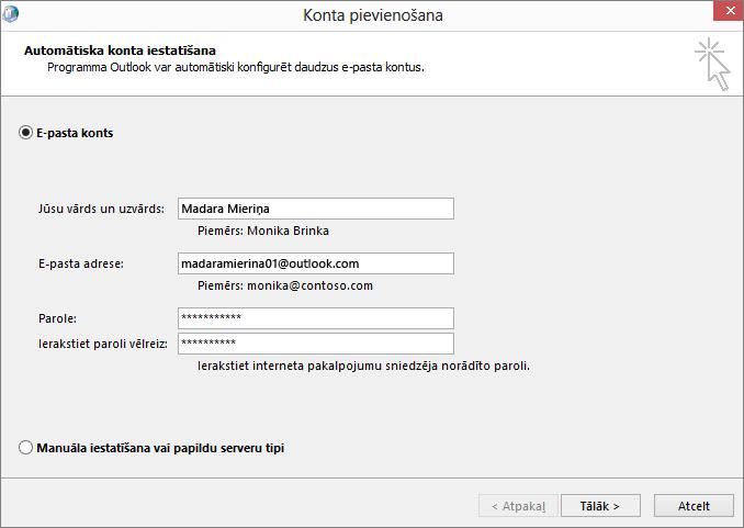 Izmantojiet automātisko konta iestatīšanu, lai pievienotu e-pasta kontu tikko izveidotajam Outlook profilam