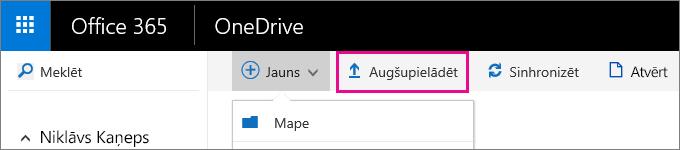 Augšupielādēt failus pakalpojumā OneDrive darbam.