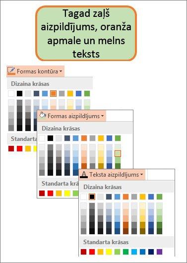 Forma ar jaunām aizpildījuma, teksta un apmales krāsām