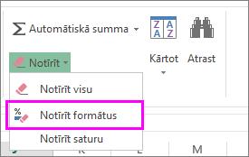 Pogu Notīrīt formātu izmantojiet, lai noņemtu formatējumu