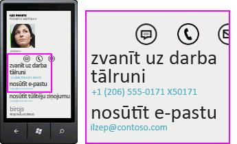 Ekrānuzņēmums ar tādu darbību kā zvanīšana uz darbu, izmantojot Lync mobilajiem klientiem