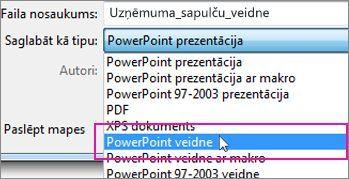 Saglabāšana PowerPoint veidnes formātā