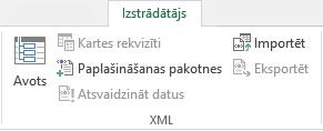 XML komandas cilnē Izstrādātājs