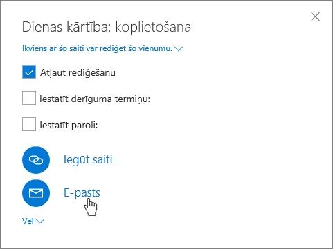 Ekrānuzņēmums, kurā redzama opcijas E-pasts atlasīšana dialoglodziņā Koplietošana pakalpojumā Onedrive